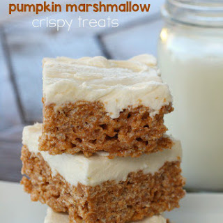 Frosted Marshmallow Pumpkin Crispy Treats
