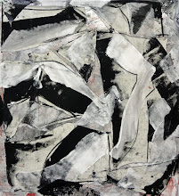 """Photo: Night Talk (oil, charcoal and thumbtacks on canvas) 50x46"""" 2014 (on consignment)"""