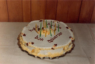 Photo: 1986. APLA-10. University of New Brunswick. Murray Kinloch Souvenir Album, 4  The birthday cake …… appropriately iced  Photograph by Jean Kinloch, caption by Murray Kinloch