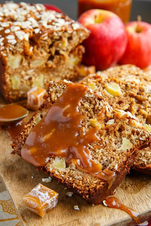 """Caramel Apple Bread""""A light, moist and tender apple quick bread with chunks..."""