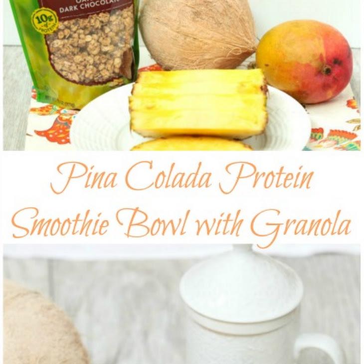 Pina Colada Protein Smoothie Bowl with Granola