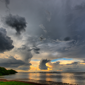Storm on East Beach by Scott Helfrich - Landscapes Cloud Formations ( geo:lon=-82.74198532, #clouds, florida, geo:lat=27.64521464, saint petersburg, geotagged, #scotthelfrich, usa, united states, fort de soto )