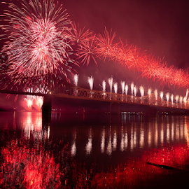 Thunder Over Louisville by Roberto Galan - Abstract Fire & Fireworks ( usa, nightscape, bridge, louisville, fireworks, kentucky, landscape )