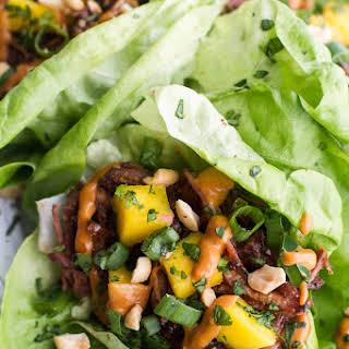 Crockpot Curried Thai Short Rib Lettuce Wraps with Peanut Sauce + Mango Salsa..