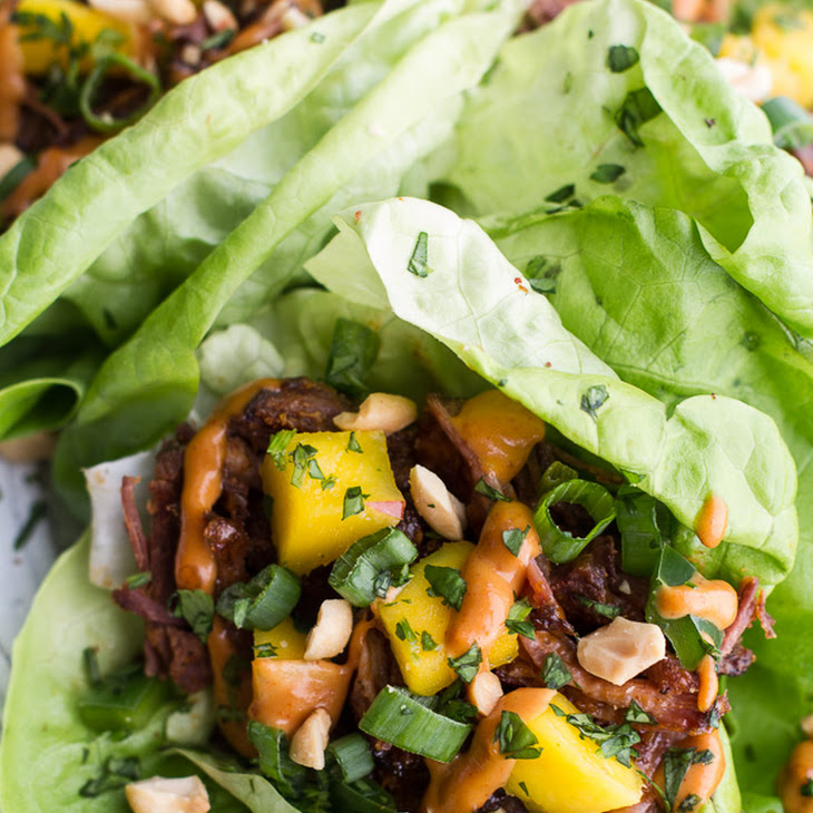 Crockpot Curried Thai Short Rib Lettuce Wraps with Peanut Sauce + Mango Salsa. Recipe