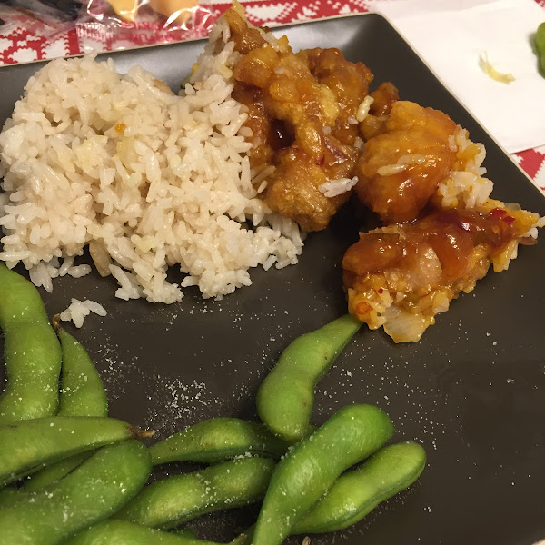 Gluten free general Tso and gluten free fried rice. It was delicious