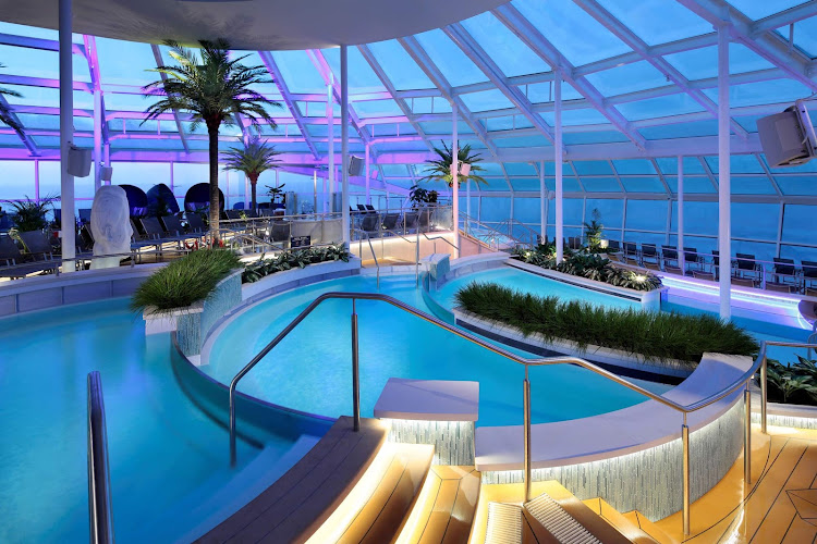 Head to the Solarium on Ovation of the Seas, a two-deck-high adult retreat with two pools, two whirlpools and a retractable glass roof (no extra cost).