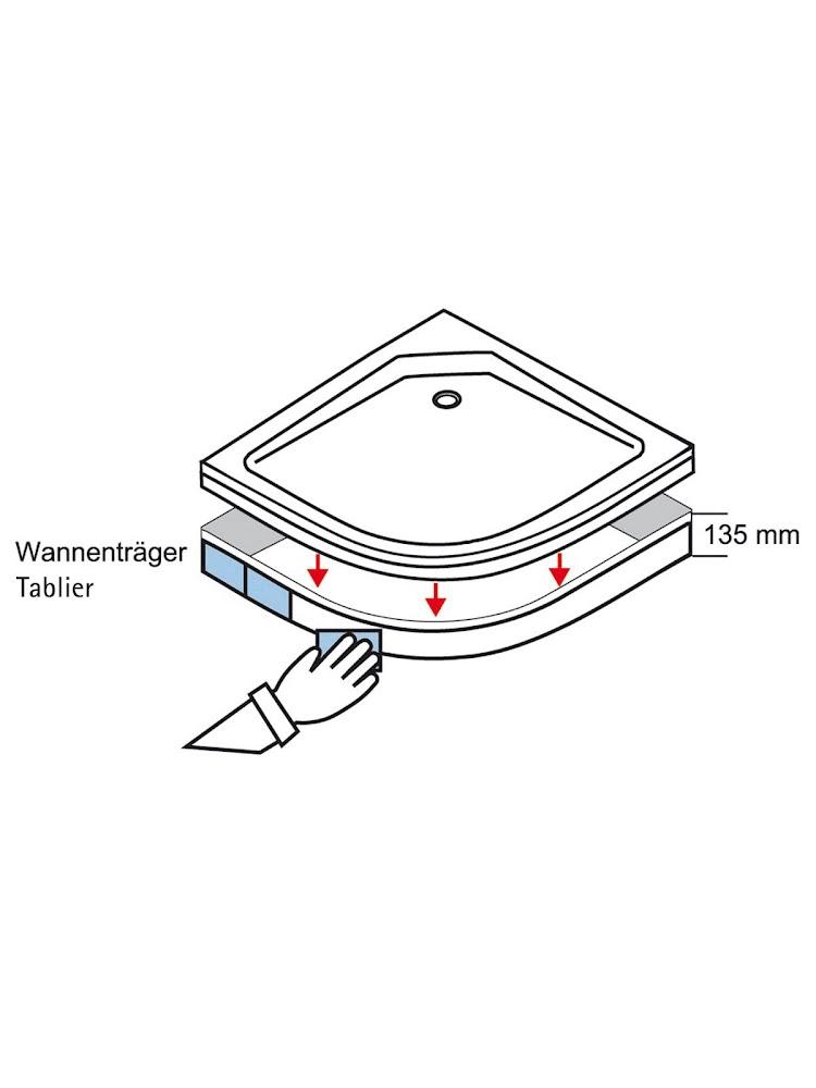 acrylique extra plat receveur de douche acrylique quart de cercle 80 x 80 x 3 5 cm extra plat a encastrer