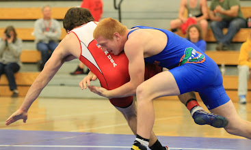 Photo: 182 pounds - 1st: Lance Benick (Totino Grace) won by decision over Corbin Farrell (Apple Valley) (Dec 5-2)