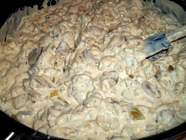 Remove from heat and stir in sour cream and chopped chiles.