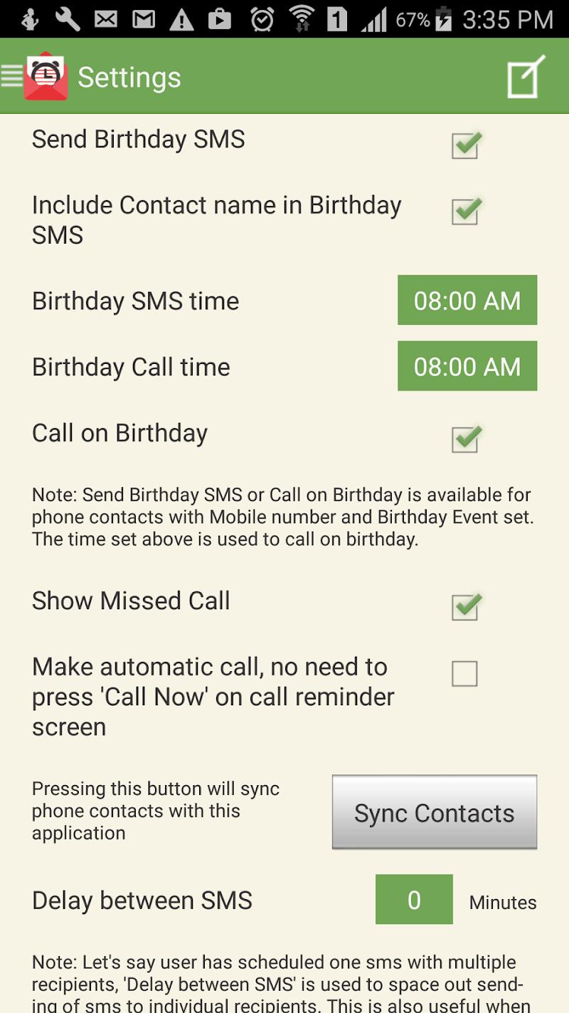 SMS-Call Scheduler Pro Screenshot 7