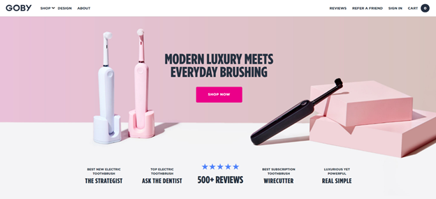Goby's landing page