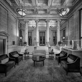 Quite the Waiting Area by John Williams - Black & White Buildings & Architecture ( internal architecture, milwaukee, waiting area, northwestern mutual, architectural detail )