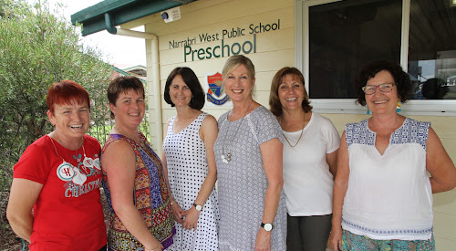 Narrabri West Public School Preschool teacher Louise Stewart was farewelled by colleagues of many years standing. From left, Trish Lawty, who has worked at the preschool since 2002, Mel Sampson (2012), Acting principal Tania Nichols (1990), Louise Stewart (1981), Manoli Phillips (1987) and Patsy Walker (1991).