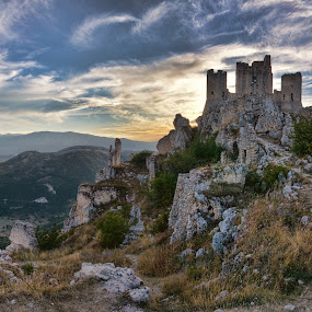 Rocca Calascio by Andrea Magnani - Buildings & Architecture Decaying & Abandoned ( monuments, backlight, sunset, ruins, castle, landscape )