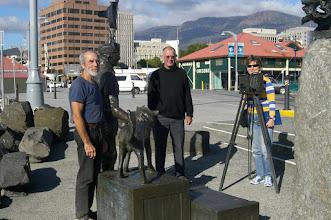 Photo: Crew admiring Antarctica sculpture, Constitution Dock