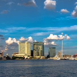 Inner Harbor skyline banner by Jackie Nix - City,  Street & Park  Skylines ( sail, baltimore, sunshine, maryland, tourism, clouds, skyline, commerce, peaceful, highrises, modern, inner harbor, quiet, skyscrapers, dock, day, architecture, sky, banner, boats, water, calm, attraction, urban, blue, daylight, waterfront, river, travel,  )