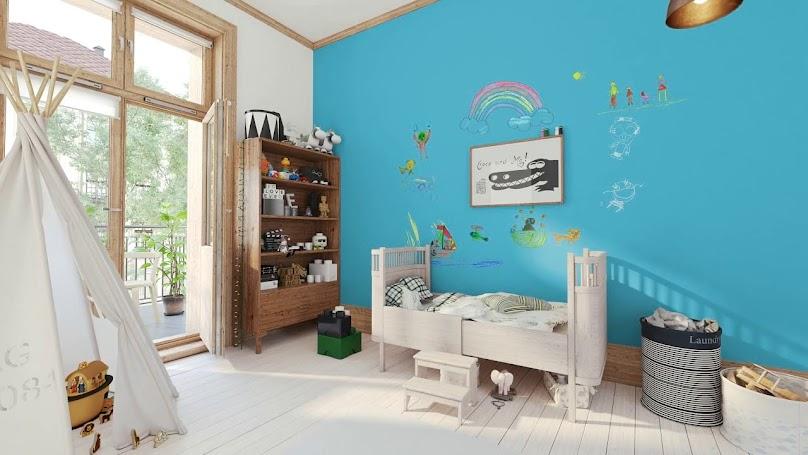 Pokój chłopca z farbą tablicową