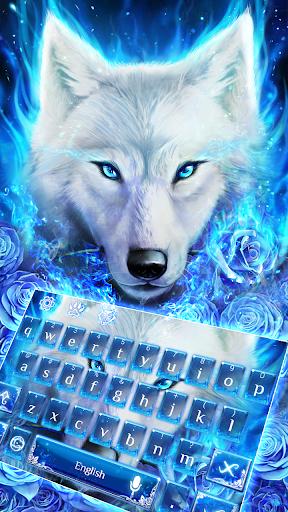 Blue Fire Wolf Keyboard Theme 10001009 screenshots 1