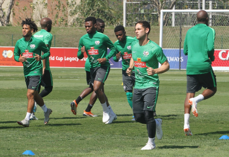 Bafana Bafana players put through their paces during a training session at Princess Magogo Stadium in KwaMashu, Durban, on September 04, 2018.