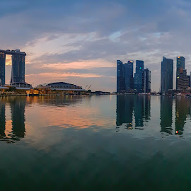 by Gordon Koh - City,  Street & Park  Vistas ( sunrise, city, skyline, art science museum, clouds, long exposure, helix bridge, modern, symmetry, nightscape, cityscape, park, reflection, asia, city park, sony a7rii, sony 12-24mm, singapore, shenton, urban, dawn, asm, modern city, lake, movement, mbs )