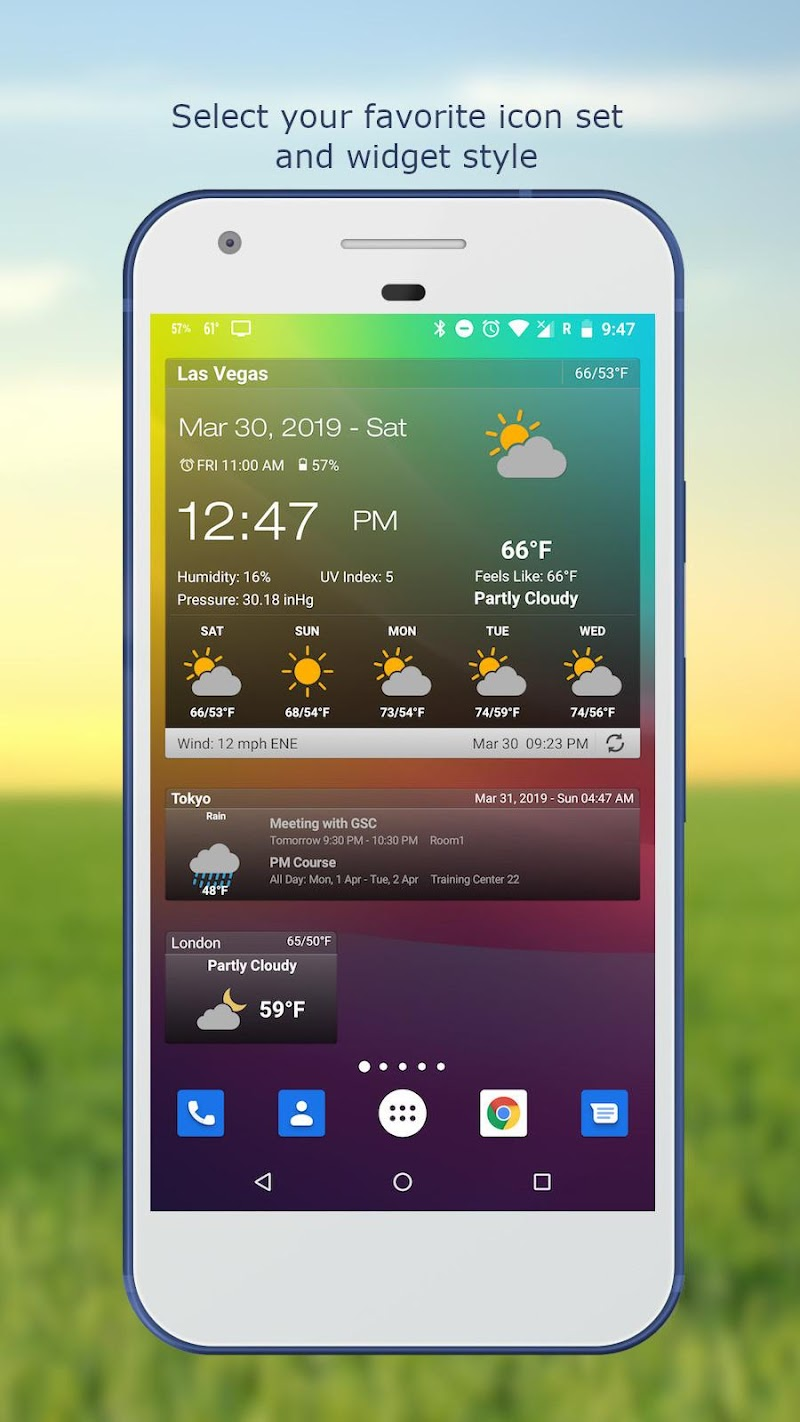 Weather & Clock Widget for Android Ad Free Screenshot 1
