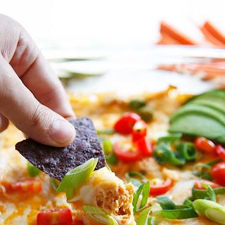 5-Ingredient Buffalo Chicken Baked Hummus Dip.