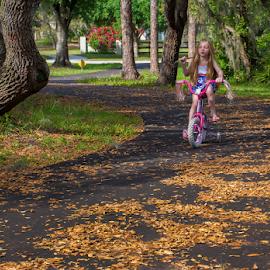 Girl on bicycle by Joe Saladino - Babies & Children Children Candids ( driveway, bicycle, girl )