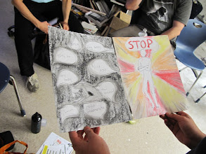 Photo: 3.14.12 high school students in Reston, VA, create art about street harassment for an art exhibit, USA