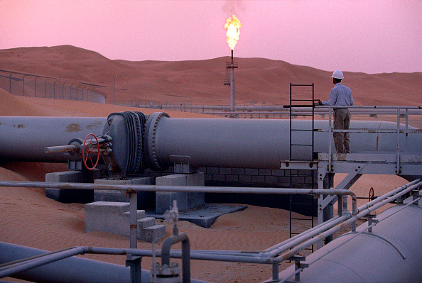 The Saudi Aramco oil field complex facilities at Shaybah in Saudi Arabia's Rub' al Khali ('empty quarter') desert. Picture: REZA/GETTY IMAGES