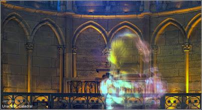Photo: Una niña. Catedral de la ciudad de Reims francés. Arte, cultura y civilización en Europa
