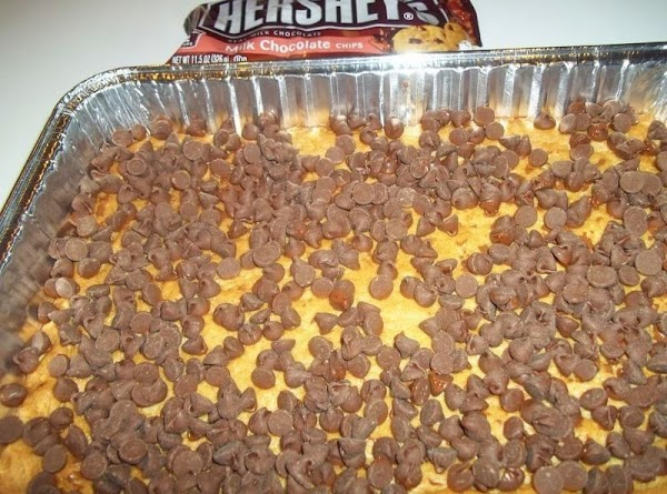 Remove from the oven and sprinkle chocolate chips over the bars while they are...