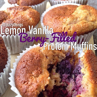 Lemon-Vanilla Berry-Filled Protein Muffins.