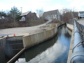 Photo: Natural course of Town Brook flows into School St. overflow weir on left to Deep Rock Tunnel