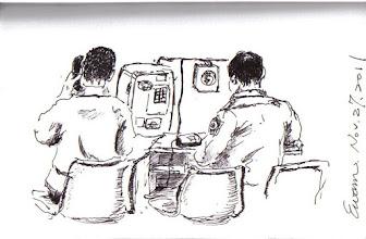 Photo: 電話接見2011.11.27鋼筆 家人一直沒前來接見,他卻在假日被通知打電話回家,話筒中傳來的卻是親人過世的消息...