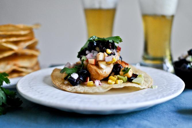 Sweet + Spicy Glazed Chicken, Corn + Avocado Tostadas Recipe