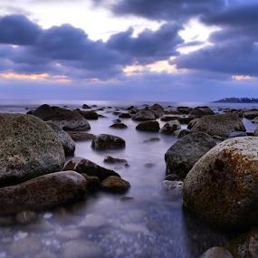 Long exposure beach by Anastasis Agathokleous - Landscapes Waterscapes ( seascape, waterscape, longexposure, sunset, paphos, cyprus, water, sea,  )