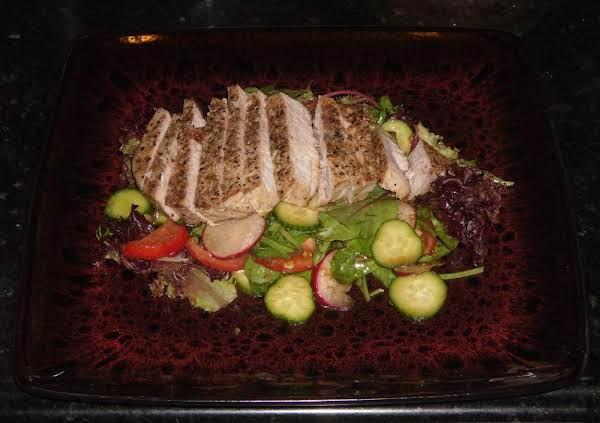 Ahi Tuna,organic Salad & Garlic,wasabi Vinaigrette Recipe