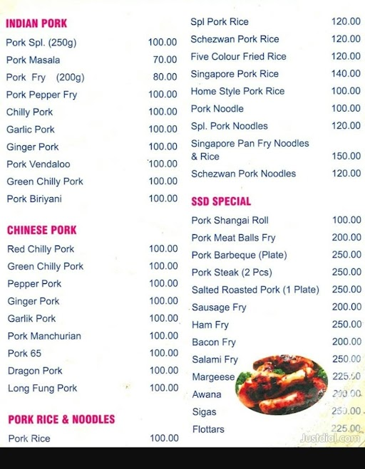 Pork Special menu 1