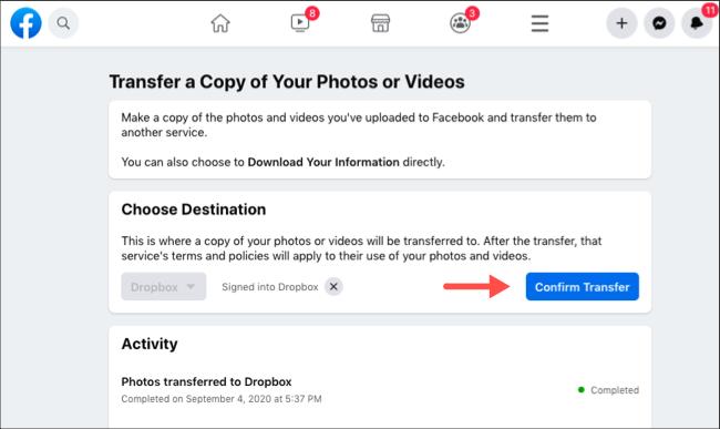 Confirm Facebook photos and videos transfer