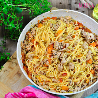 One-Pot Spaghetti with Tomato-Meat Sauce.