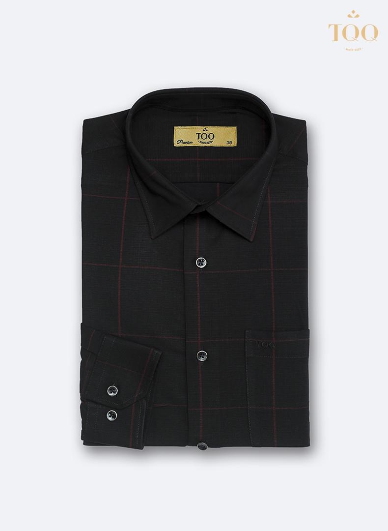 Mẫu áo sơ mi nam đen phối kẻ đỏ K417CS cao cấp