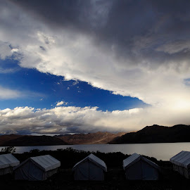 Pangong Tso being raided by clouds by Tridibesh Indu - Landscapes Cloud Formations ( pangong, sky, landscapes, waterscapes, skyscapes, incredible, clouds, india, water, tents, afternoon, cloudscape, laketso, travelgram, evening, lake, ladakh, travelrealindia )