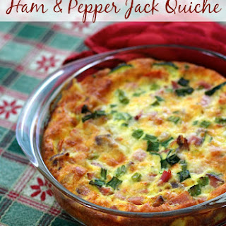 Layered Crustless Ham & Pepper Jack, Veggie Packed Quiche Recipe