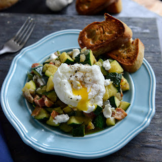 Zucchini Summer Skillet with Poached Eggs + Garlic Butter Baguettes