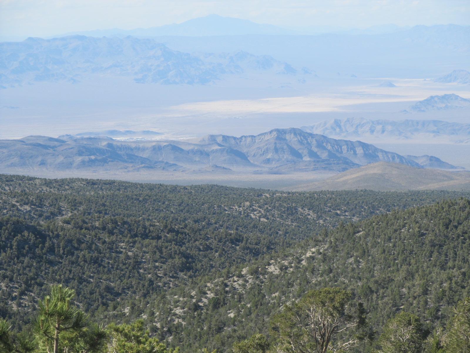 Climbing Lee Canyon Bike Climb (Hwy 156) by bike - view of desert and plains below - hwy 95