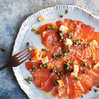Salmon Carpaccio With Anchovy Salad.