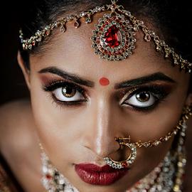 Angel Eyes by Paul Phull - People Portraits of Women ( jewelry, makeup, beautiful, bridal, eyes, indian )