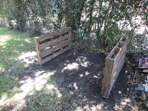Photo: The second pallet is in place and I could stop here if I wanted just functionality. Since this is clearly visible in my back yard, I want more aesthetic quality. I will add some standard fence pickets.