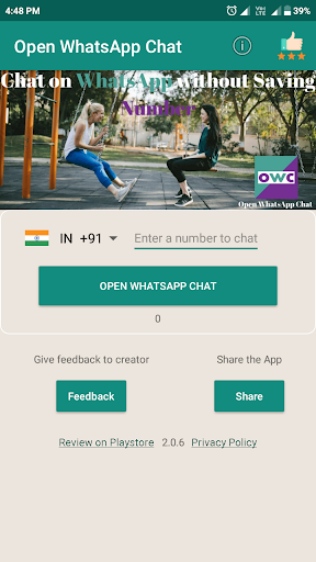 Chat on WhatsApp without Saving a Number : OWC  screenshots 1